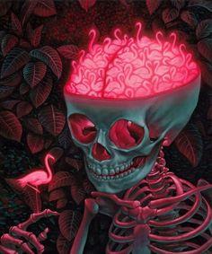 Flamingo Art, Pink Flamingos, Flamingo Tattoo, Flamingo Gifts, Brain Art, Brain Drawing, Skeleton Art, Skeleton Watches, Pink Bird