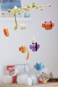 mobile with clouds made of felt - nursery decoration | wolke
