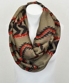 Look at this #zulilyfind! Mocha & Red Tribal Infinity Scarf by Leto Collection #zulilyfinds