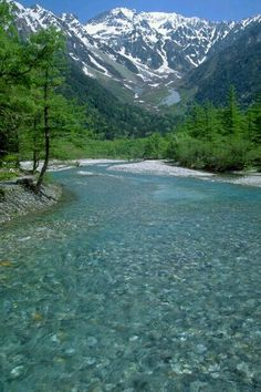 Crystal clear water, Azusa river and Mt. Hodaka Japan