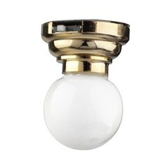 Dollhouse Miniature LED Globe White Ceiling Light Battery Operated 1:12 Scale   #Houseworks