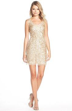 Adrianna Papell Sequin Tulle Sheath Dress  9ca47cb37dff