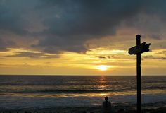 Sunset at Varkala beach in front of the Blue Water Beach Resort, Kerala. Varkala is fast emerging as a tourism hot spot.