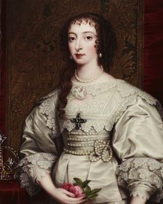 Henriette Marie of France Henrietta Maria of France was queen consort of England, Scotland, and Ireland as the wife of King Charles I. She was mother of his two immediate successors, Charles II and James II. Historical Costume, Historical Clothing, Fashion History, Fashion Art, Baroque Fashion, Vintage Fashion, Luís Xiv, Mode Baroque, Henrietta Maria
