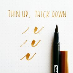 The secret to brush lettering with @tombowusa markers: thin upstrokes, thick downstrokes Calligraphy Letters, Caligraphy Pen, Modern Calligraphy Alphabet, Modern Caligraphy, Calligraphy Doodles, How To Write Calligraphy, Calligraphy Handwriting, Penmanship, Calligraphy Course
