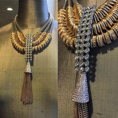 Triple Silver Mesh Collar, and Rondelle-Wrap, Antique Rhinestone Tower, Pave Rhinestone-Capped Chain Tassel. Rhinestone Jewelry, Beaded Earrings, Tassel Necklace, Silver Jewelry, Jewelry Necklaces, Beaded Bracelets, Silver Earrings, How To Make Tassels, How To Make Necklaces