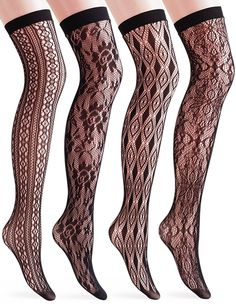 VERO MONTE 4 Pairs Womens Hollow Out Fishnet High Socks - Valentines Day Gifts *** To view further for this item, visit the image link.