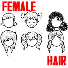 How to Draw Girls Hair Styles for Cartoon Characters Drawing Tutorial