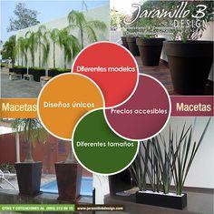 Macetas de fibra de vidrio diferentes estilos, modernos y minimalistas, con muchas opciones de colores y diferentes tamaños.