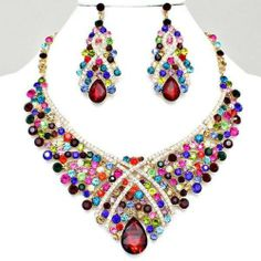 Chunky Multi Color Crystal Gold Necklace Earring Set Fashion Costume Jewelry | eBay