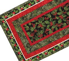 Christmas Table Runner, Quilted Holiday Table Mat, Green and Red Holly Table Runner, Quiltsy Handmade by VillageQuilts on Etsy