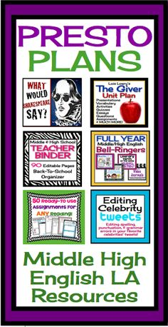 Middle High School English Language Arts Teaching Resources!