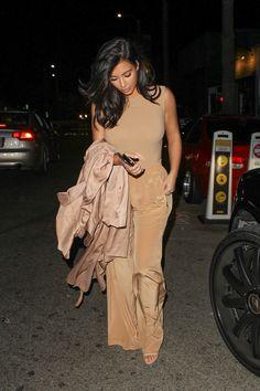 Kim leaves dinner with a friend at the restaurant Gjelina in Venice on Oct. 18, 2014. AKM-GSI -Cosmopolitan.com