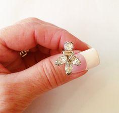 Screw Back Rhinestone Earrings Dressy Formal Wear by bettysworld4u