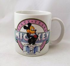 Disney's Mickey Mouse 60 Years With You Mug Coffee Cup Applause Brand 1988 #Disney