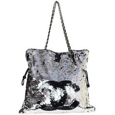 Preowned Chanel Silver And Black Sequined Summer Nights Cc Tote Bag (£1,635) ❤ liked on Polyvore featuring bags, handbags, tote bags, black, novelty bags, chanel tote, summer tote bags, leather handbag tote, leather handbags and zip tote bag