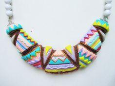 Collana handmade mezzaluna multicolore in fimo e cernit, by Tina's - HandMade Fimo & Cernit Jewels, 20,00 € su misshobby.com