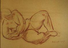 Studietekening voor beeld in kalkzandsteen, geplaatst in Aerdenhout Charlotte van Pallandt (1898-1987)   1959  38 x 53 cm  Tekening  Krijt op papier