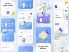 Weather App - Mobile application by Imran Hossen on Dribbble Android App Design, Ios App Design, Mobile App Design, Ux Design, Interface Design, User Interface, Mobile Mockup, Mobile App Ui, Online Web Design