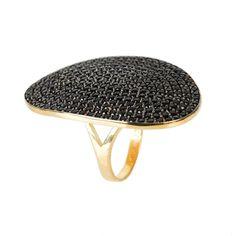 St Tropez Ring Gold Black Zircon