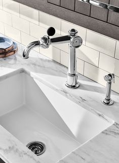 7 Things That Make A Great Kitchen Faucet Kitchen Sink Faucets, Kitchen And Bath, New Kitchen, Waterworks Bathroom, Copper Faucet, Beer Taps, Wall And Floor Tiles, Luxury Kitchens, Kitchen Styling