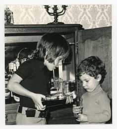Young boys playing bar tender  original 70s by GRAINSofBrussels