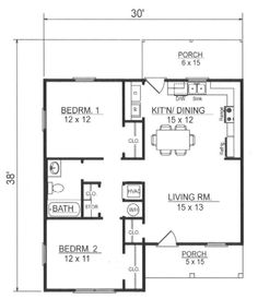 First Floor Plan image of Plan THD-WME-7797... Good small one story house plan