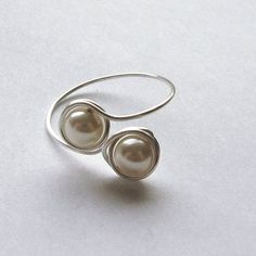Love Ring Pearl Ring Silver and Pearls gift for by Fantasidea
