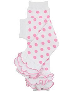 Hot Pink and White Striped with White Ruffle Arm Warmers Striped Leg Warmers Preteen Infant Baby Easter Leg Warmers Toddler