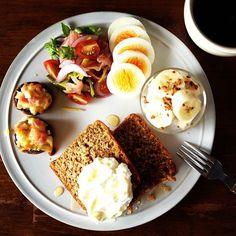 Today's breakfast. Stuffed mushrooms, Tea and Okara cakes. おから入りの紅茶ケーキ - @keiyamazaki- #webstagram