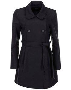 VILA - Černý dlouhý kabát  Kimra - 1
