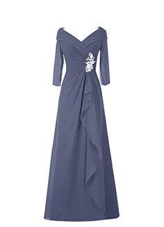 Diyouth Long Asymmetric Pleated V-Neck Mother of the Bride Dress Sleeves Stormy Size 26W Diyouth http://www.amazon.com/dp/B00U11B7UU/ref=cm_sw_r_pi_dp_kMWDvb0QZ0Z7K