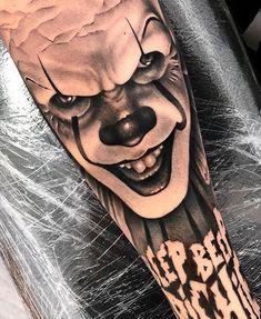Evil Tattoos, Clown Tattoo, Creepy Tattoos, Dope Tattoos, Dream Tattoos, Body Art Tattoos, Tattoos For Guys, Sick Tattoo, Temp Tattoo