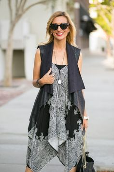 This week on the blog our Faux Leather Vest and Paisley print handkerchief tunic/dress both available on our web site www.jacketsociety.com