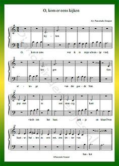 O kom er eens kijken - Gratis bladmuziek van kinderliedjes in eenvoudige zetting voor piano. Piano leren spelen met bekende liedjes.