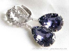 Shooting star earrings Silver Cubic zirconia stars by gems4uuu