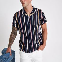 sew men clothes River Island Mens Navy stripe revere short sleeve shirt - Woven fabric Regular fit Stripe print Revere collar Short sleeve Button-up front Our model wears a UK M and is tall Stylish Mens Fashion, Best Mens Fashion, Fashion Edgy, Fashion Rings, Fashion Boots, Fasion, Fashion Hair, Stylish Menswear, Fashion Vest