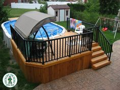 here is a correct deck above ground pool deck in ottawa ontario the skirting is bc cedar and the rails are aluminum