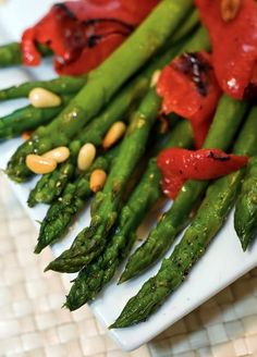 """CLICK PIC  2x for Recipe....  ...Asparagus, Red Peppers and Pine Nuts..  ...Recipe by George Stella... ...For tons more Low Carb recipes visit us at """"Low Carbing Among Friends"""" on Facebook"""