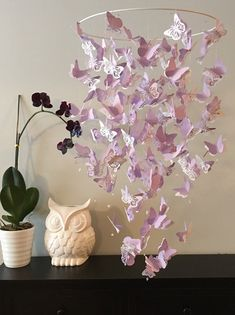 lavender butterfly chandelier mobile in purple and white mix baby mobile nursery mobile baby girl mobile mobile butterfly mobile - Baby Girl Room Chandelier