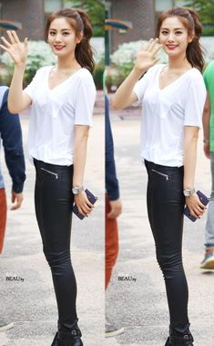 Make the simple white Tee chic with the black pants, not jeans. After School Nana, G Dragon, K Pop, Korean Beauty, Asian Beauty, Block B, Asian Woman, Asian Girl, Nana Afterschool
