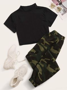 Two Piece Outfit Sets - Women's Cute Tops With Joggers - Girls Fashion Clothes, Teen Fashion Outfits, Swag Outfits, Retro Outfits, Cute Fashion, Fashion Ideas, Preteen Fashion, Rock Outfits, Fashion Black