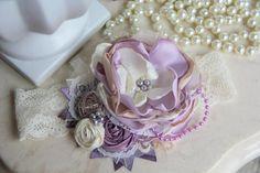 Lavender Cream Couture Baby Headband, Shabby Chic Baby Headband, Baby Headband, Vintage Inspired, Rosette Headband, Infant Headband