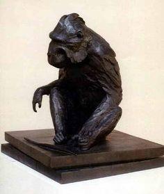 Bronze Endangered Animal Species Sculptures #sculpture by #sculptor Barry Sutton titled: 'Black Ape' £9200 #art