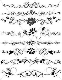 Hand Drawn Divider Lines Fancy Swirls and Ornamental by TuiTrading