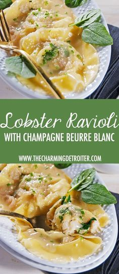 Lobster Ravioli with Beurre Blanc – The Charming Detroiter These plump ravioli are filled with tasty lobster and mascarpone and finished in a delectable and rich champagne beurre blanc sauce. Lobster Recipes, Fish Recipes, Seafood Recipes, Pasta Recipes, Dinner Recipes, Cooking Recipes, Healthy Cooking, Cooking Corn, Eating Healthy