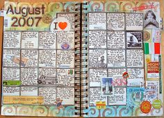 august 2007 calendar page | tracy's method: make the backgrounds with ink or paint and put post-it note squares down before the backgrounds and draw or paint around the post-its | www.flickr.com /photos/tracyu/1287923310/in/photostream/