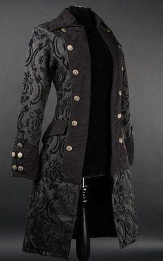 Schwarzer steampunk mantel
