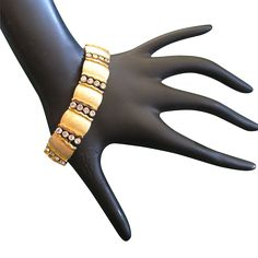 Crown Trifari Clear Rhinestone and Brushed Gold Tone Bracelet offered by 2Hearts Uptown Jewelry & Accessories on Ruby Lane