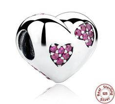 2016 New 925 Silver Pink Crystals Heart Charms by RonArtGaLLaRy